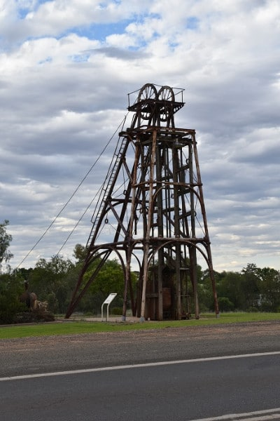 An old drill monument to mining in cobar