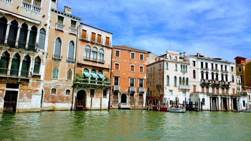 Buildings alongside the waterways in Venice