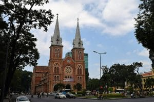 A large church with two large steeples in vietnam