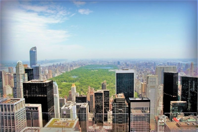 High view of Central Park with skyscrapers