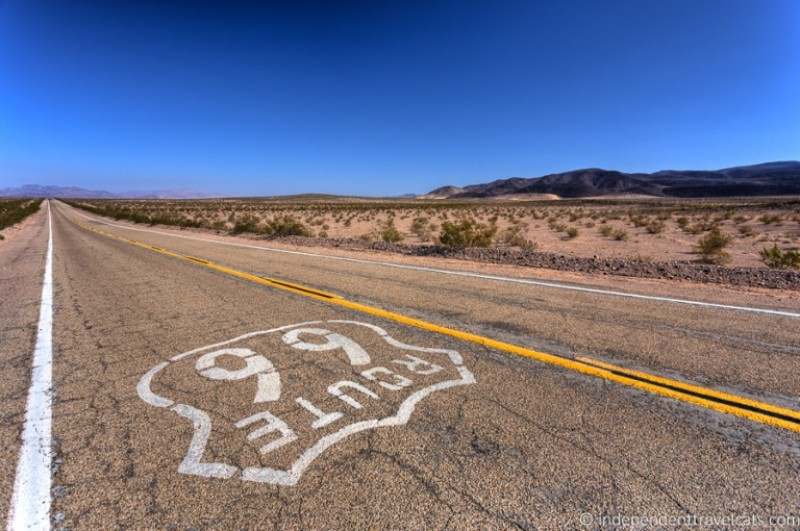 The white Route 66 stamp on a road facing away from the camera