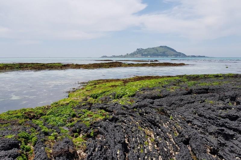 Black rock fading into the sea
