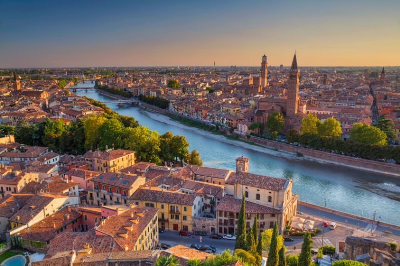 Verona looking over the river at sunset