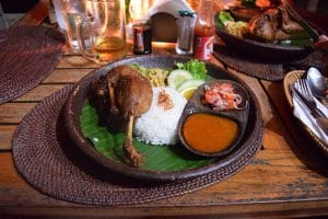 A slow cooked duck with rice and sauce, pictured whilst backpacking around Bali