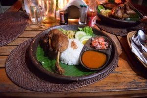 Slow cooked duck with rice and veg, beautfiul after the sunset on day 3 of your week in bali
