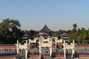 A chinese monument inside of the temple of heaven