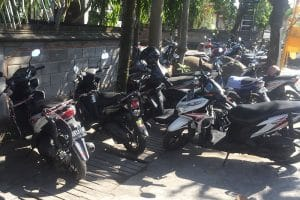 A collection of motorbikes in Bali, not recommended whilst backpacking around bali