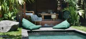 Typical bali accommodation with pool and bean bags. The perfect accommodation for your 7 day bali itinerary
