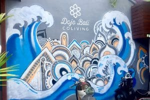 A mural in front of a co living workplace in bali, pictured whilst backpacking in bali