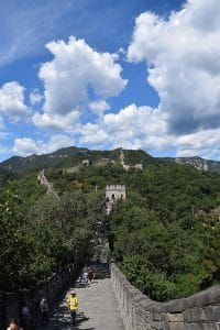 The great wall of China stretching away into the mountains