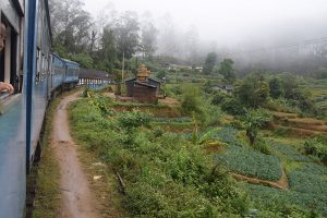The length of a blue train going through the Sri Lankan mountains.