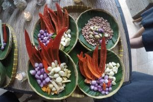A collection of ingredients for a Balinese cooking class