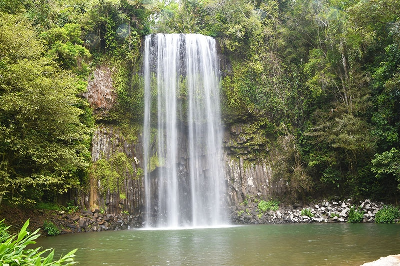 A large waterfall made famous by herbal essences pictured whilst backpacking Australia