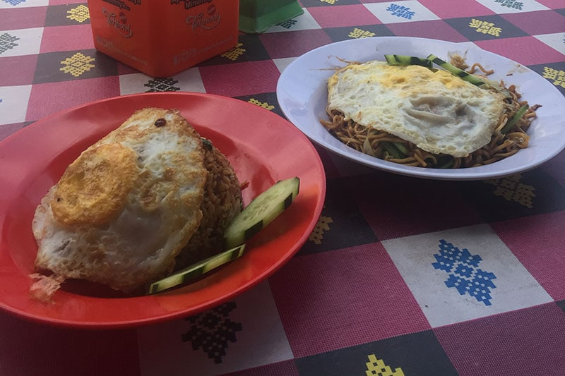 Nasi goreng and mie goreng pictured whilst back[acking bali
