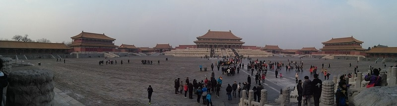A panoramic view of the inside of the forbidden city, pictured whilst backpacking around China
