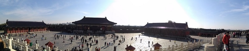 A panoramic view of the inside of the temple of heaven