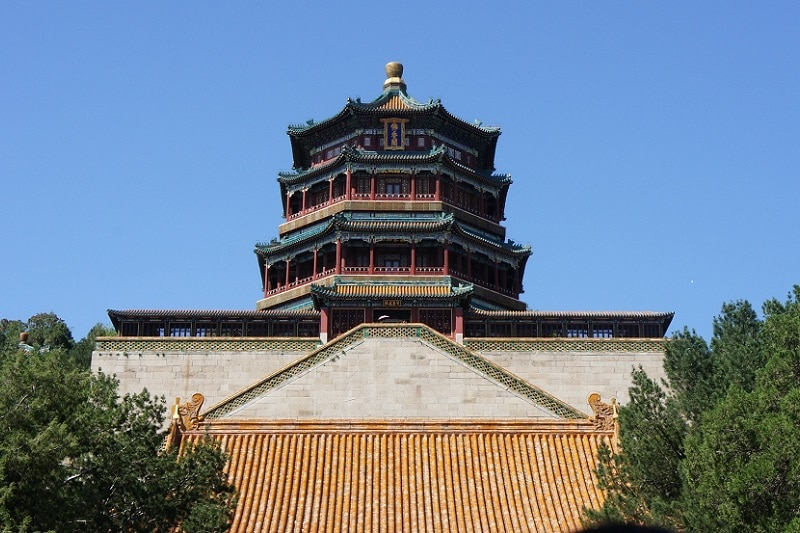 The bottom of a temple at the summer palace in Beijing