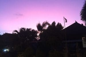 Purple and pink sunset over Canggu whislt backpacking in Bali