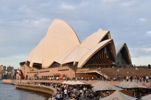 A picture of the front of the sydney opera house whilst backpacking australia