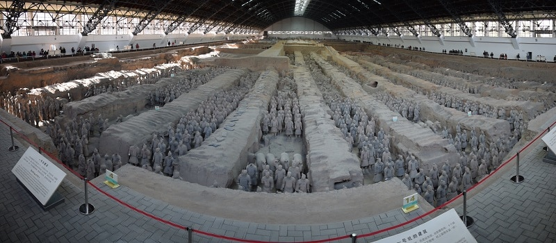 Rows and rows of terracotta warriors in trenches in Xi'an
