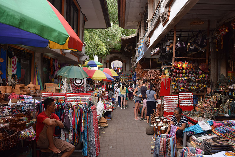 A large sprawling market with many colours, pictured whilst backpacking in Bali