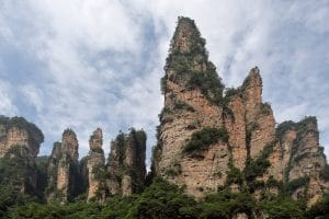 Large pillars rising into the sky at a national park in China