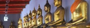 Backpacking in Thailand lets you see some of the most beautiful rows of golden Buddhas