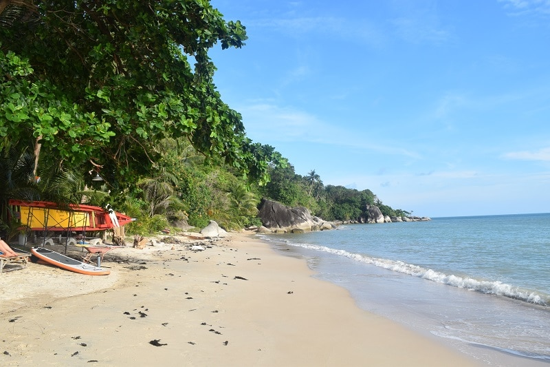 A deserted beach in Koh Phangan, pictured whilst backpacking through Thailand