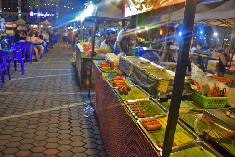Rows of stalls selling Thai food in Bangkok, Pictured whilst backpacking around thailand