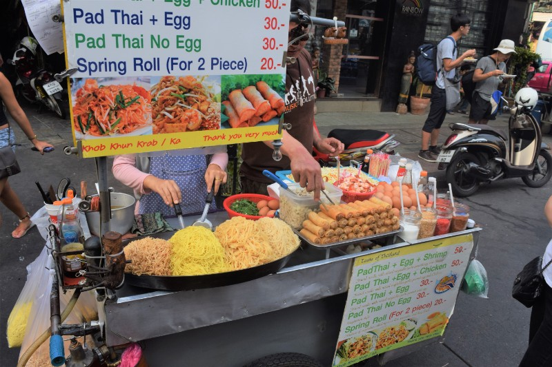 A food stall in Bangkok Thailand, pictured whilst backpacking through Thailand
