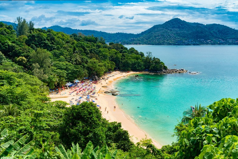 An aerial view of a beach in Phuket Thailand. Pictured whilst backpacking in Thailand
