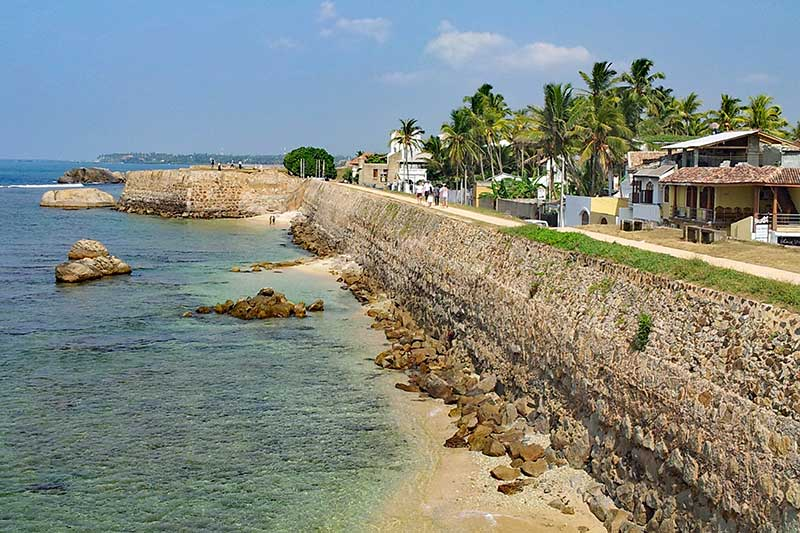Galle beachfront in the South of Sri Lanka