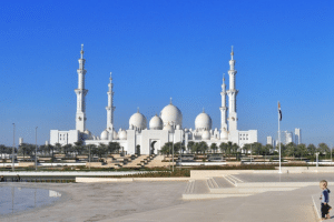 Mosque in Abu Dhabi with blue skies