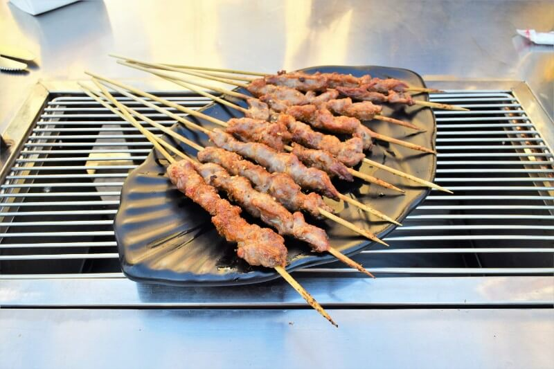 Lamb meat skewers on a plate