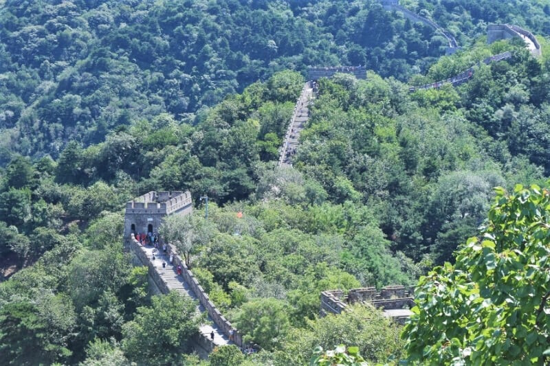 Winding Great Wall through the forest in Beijing