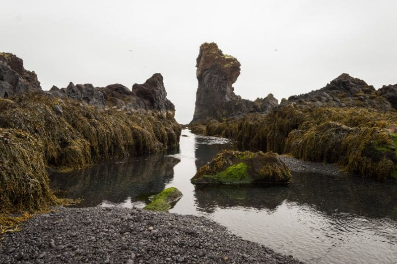 Long thing rock formations going into the air on an iceland beach