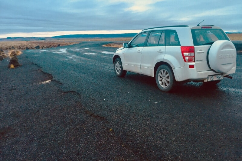 A hire vehicle in Iceland in summer
