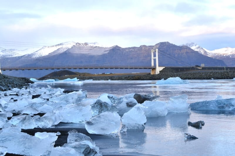A large bridge over the glacial river at diamond beach iceland