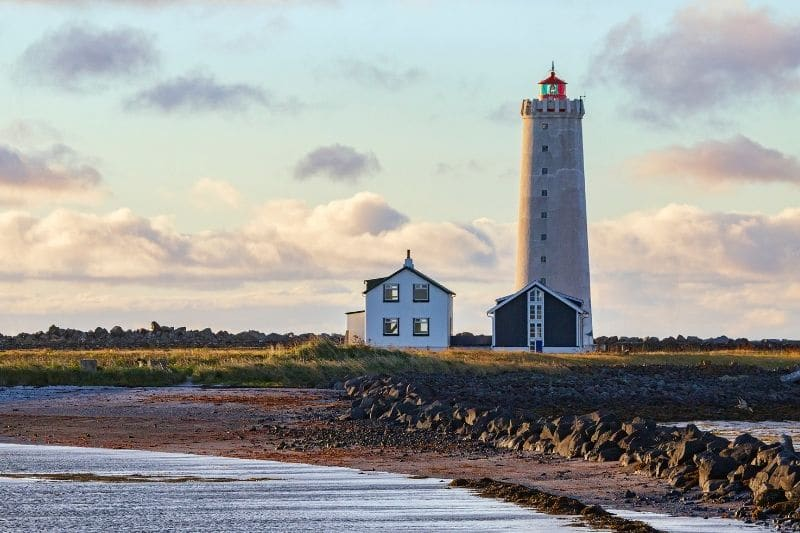 A lighthouse on the coast near Reykjavik in Iceland.