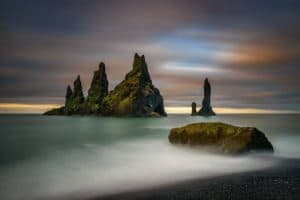 Rock formations out to see at the most popular iceland beach