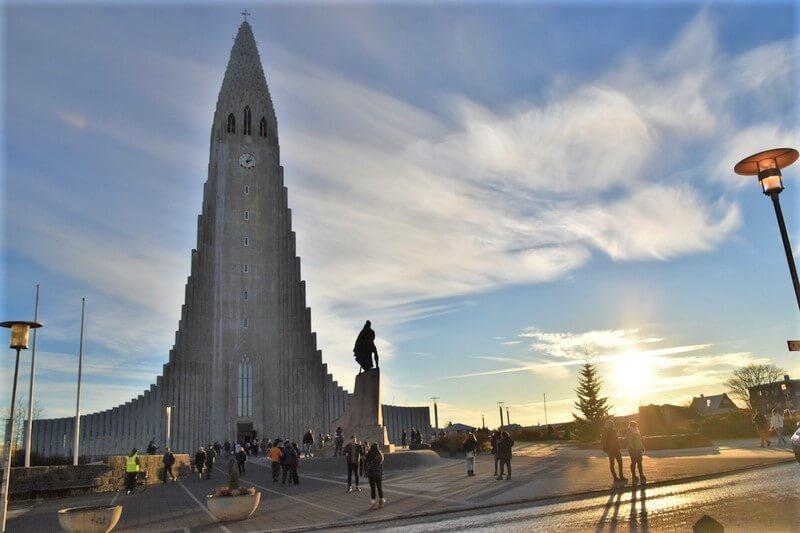 Hallgrimskirkja Church - tall church built like a narrow pyramid with plaza square in front