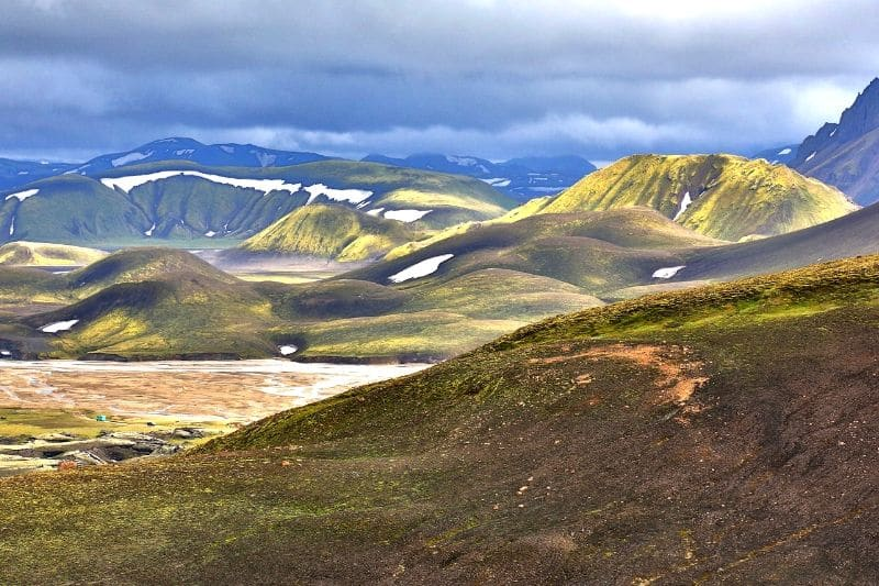 Rolling hills that can be seen if you book a helicopter tours in iceland