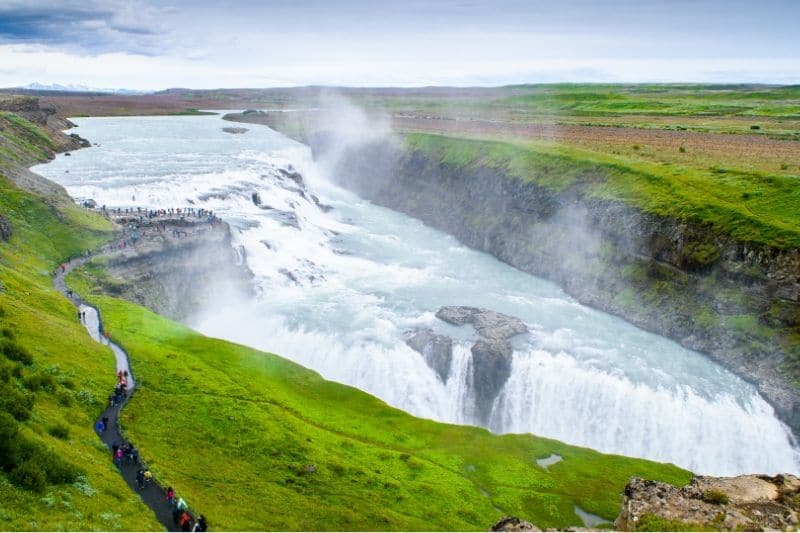 Gulfoos waterfall in Iceland in Summer