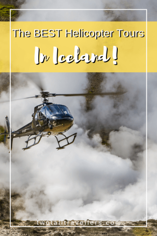 Iceland helicopter tours picture of a helicopter flying over geothermal land