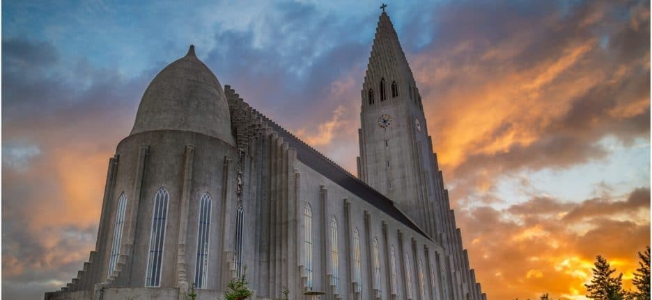 Iceland In June Hallgrimskirkja Church with sunrise in the background