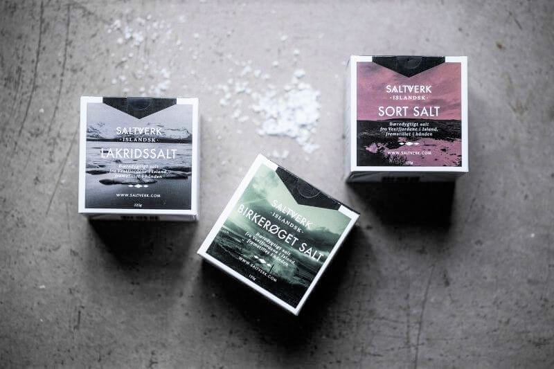 3 boxes of sea salt - one blue, one green, one pink