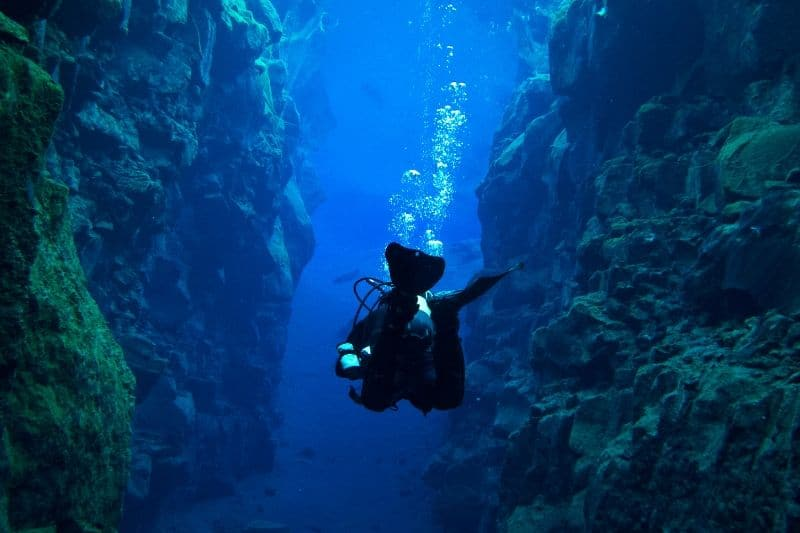 Diving the Silfra fissure in Iceland in Summer