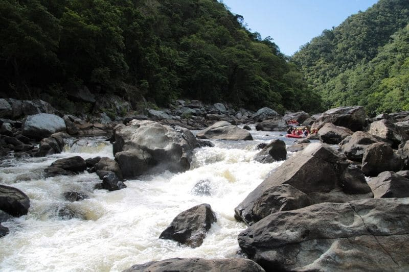 White water rapids and grey rocks
