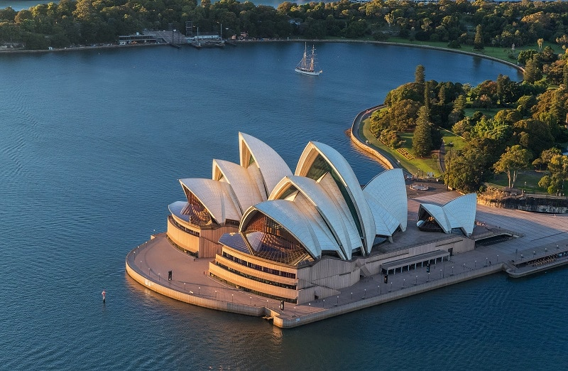 Aerial shot of Sydney Opera House