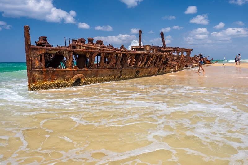 East Coast Australia Tours Large Maheno Shipwreck on Australian Beach